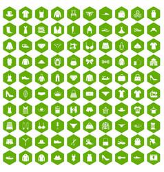 100 sewing icons hexagon green vector