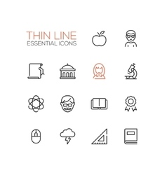 Education - thin single line icons set vector