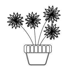 flowerpot with flowers inside icon vector image
