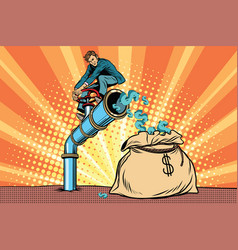The financier sitting on cash tube vector