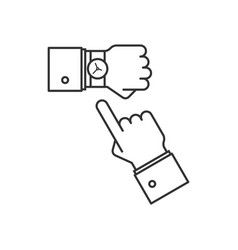Wristwatch on the hand line icon vector