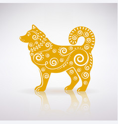 Stylized yellow dog with ornament vector