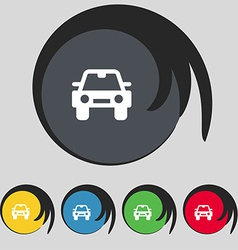 Auto icon sign symbol on five colored buttons vector