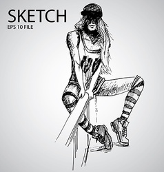 Sketched girls vector
