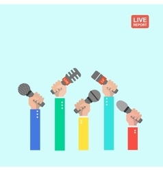 live report concept live news hands of vector image