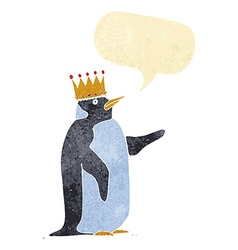 Cartoon penguin wearing crown with speech bubble vector