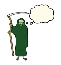 Death cartoon with thought bubble vector