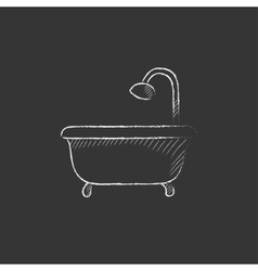 Bathtub with shower drawn in chalk icon vector