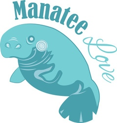 Manatee love vector