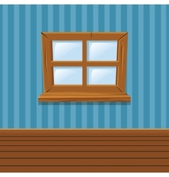 Cartoon wooden window home interior vector