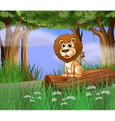 A lion sitting on a trunk vector image