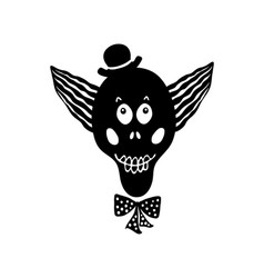 black funny skull vector image vector image