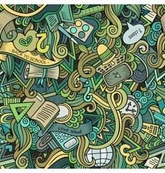 Cartoon cute doodles school seamless pattern vector