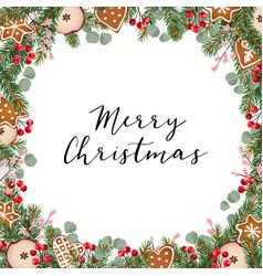 christmas greeting card invitation with christmas vector image vector image