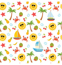 colorful summer seamless pattern with sun crab vector image