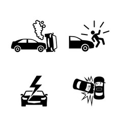 Crashed cars simple related icons vector