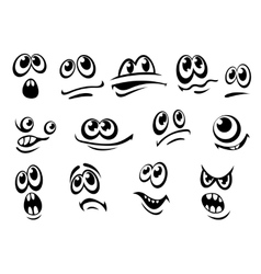 Cute black and white facial expressions vector image vector image
