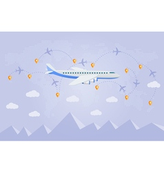 Flat web banner on the theme of travel by airplane vector image