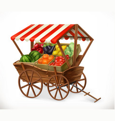 Fresh produce market cart with fruits and vector