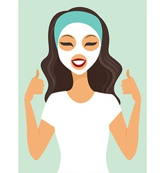 Girl applying white beauty mask vector