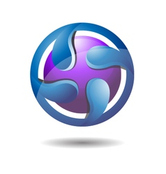 Glossy abstract circular water drop logo icon vector