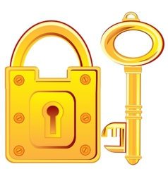 Gold lock and key vector