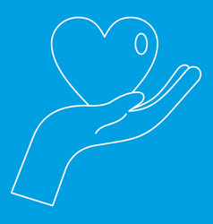 heart in hand icon outline style vector image