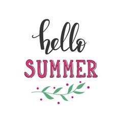Hello Summer lettering typography vector image vector image