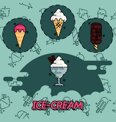 ice-cream flat concept icons vector image vector image