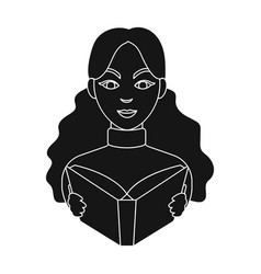 librarian icon in black style isolated on white vector image