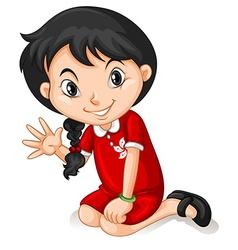 Little girl in hongkong dress waving vector