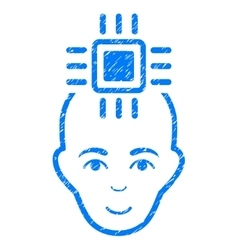 Neural computer interface grainy texture icon vector