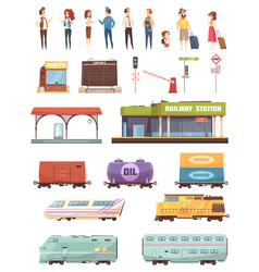 Railway decorative icons set vector