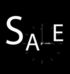 Sale inscription with clocks sales event square vector