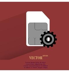 Sim card flat modern web button with long shadow vector