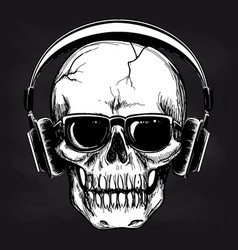 skull and headphones sketch on blackboard vector image vector image