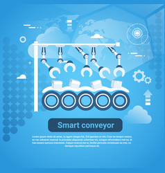 smart conveyor web banner with copy space on blue vector image vector image