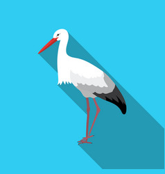 Stork icon in flate style isolated on white vector