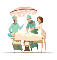 Surgery in cartoon retro style vector