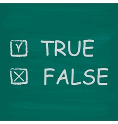 True and false check boxes written on a blackboard vector