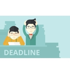 Two stressed asian employees vector