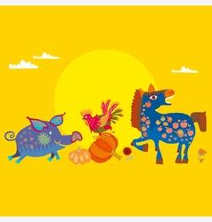Village animals vector