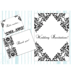 Vintage damask invitation card with ornaments vector