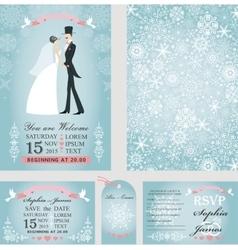 Wedding invitation setBridegroomWinter vector image