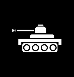 White icon on black background army tank vector
