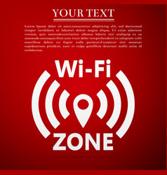 Wi-fi network flat icon on red background vector
