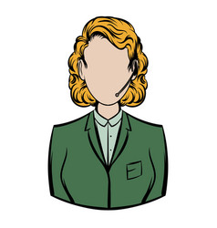 Woman in a green blazer with headset icon cartoon vector