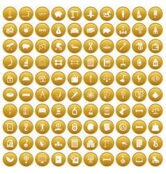 100 balance icons set gold vector