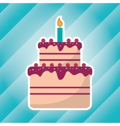Big cake birthday with candle blue light vector