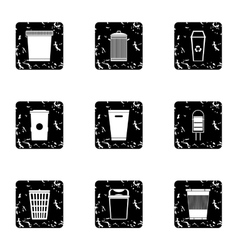 Waste rubbish icons set grunge style vector